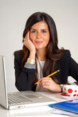Interior designer and architect woman working — Stock Photo