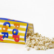 Popcorn bag on white background. - 