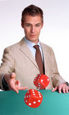 Young businessman agent gambling — Stock Photo