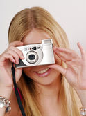 Young woman taking a picture — Stock Photo