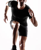 Healthy and fitness man running on white background. — Stock Photo