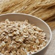 Free ears of wheat and wheatgerm in a small bowl — Stock Photo #29433807