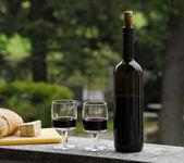 红葡萄酒瓶、 杯奶酪和面包. — 图库照片