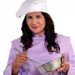 Happy woman chef portrait with chef hat. — Stockfoto