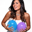 Happy and funny bride with balloons — Stock Photo