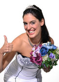 Happy bride holding a bouquet — Stock Photo