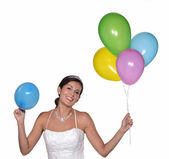 Happy bride holding a party balloons — Stock Photo