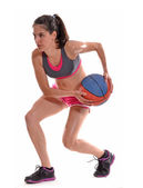 Woman and basket ball — Stock Photo