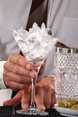 Ice cube cocktail glass. — Stock Photo