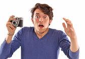 Surprised photographer — Stock Photo