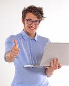Businessman  working on computer laptop — Stock Photo