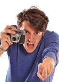 Angry Photographer holding  camera. — Stock Photo