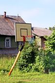 Basketball board with a basket — Stock Photo
