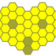 The stylized bee head of a honeycomb - Stock Vector