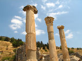 3 ancient columns at Ephesus — Stock Photo