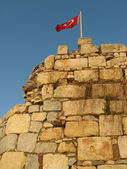 Flag on ancient fortress — Stock Photo