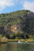 Dalyan view wıth tombs — Stock fotografie