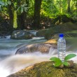 Bottle and water stream — Foto Stock