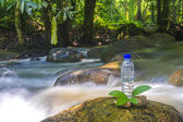 Bottle and water stream — Stock Photo