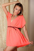 Portrait of sexy girl in beautiful dress — Stock Photo