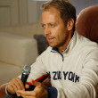 "Rocco Siffredi visiting Sergei Pryanishnikov. Rocco Siffredi gives interview for ""Sp-Club"" ,""Tricolor TV"", interview takes a well-known actor and anchorperson Igor Bubenchikov — Foto Stock"
