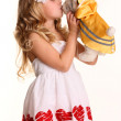 Cute girl posing with toy — Stock Photo #14101535