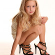 Portrait of small girl in high heels — Stock Photo