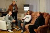 "Rocco Siffredi visiting Sergei Pryanishnikov. Rocco Siffredi gives interview for ""Sp-Club"" ,""Tricolor TV"", interview takes a well-known actor and anchorperson Igor Bubenchikov — Stock Photo"