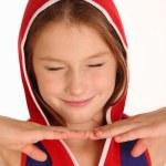 μικρό κορίτσι κάνουν γκριμάτσα — Φωτογραφία Αρχείου