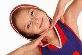 Careta de fazer pequena garota — Foto Stock