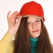 Charming girl in the construction helmet. — Stock Photo #47166297