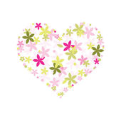 Floral heart shape — Vector de stock