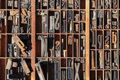 复古的印刷体的字母按存储 — 图库照片