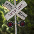 Stock Photo: Country railroad crossing sign