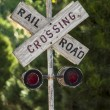 Country railroad crossing sign — Stock Photo