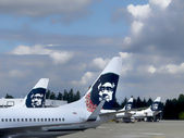 Alaska Airlines Jets in Seattle, Wa. — Stock Photo