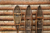 Snow shoes and a log cabin — Stock fotografie