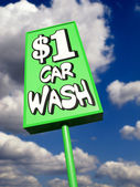 Lime green vintage car wash sign — Stock Photo