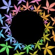 Circle frame of colorful leaves isolated on black. — Stock Photo