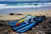 Buceo, natación, equipo de buceo en la playa de roca. — Foto de Stock
