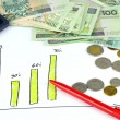 Company Growth - Poland. Graph and money. — Stock Photo #20417049