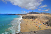 Famous beach on Canary Islands - Lanzarote, Spain — Stock fotografie