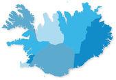 простой синий вектор карта исландии с регионами. — Cтоковый вектор