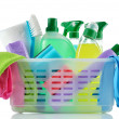 Cleaning products and supplies in a basket. — Stock Photo #38575511