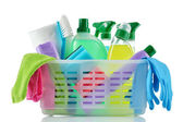 Cleaning products and supplies in a basket. — Stock Photo