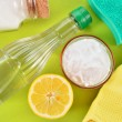 Natural cleaners. Vinegar, baking soda, salt and lemon. — Stock Photo #39148547