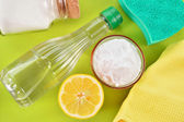 Natural cleaners. Vinegar, baking soda, salt and lemon. — Stock Photo