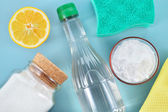 Natural cleaners. Vinegar, baking soda, salt and lemon. — Stock Photo