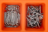 Different types of nails in a plastic box. — Stock Photo