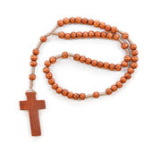 Wooden plain rosary on white background. — Stock Photo